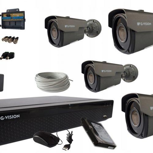 MONITORING SZEROKOKĄTNY CCTV 4 kamery 5MPx IR 60m