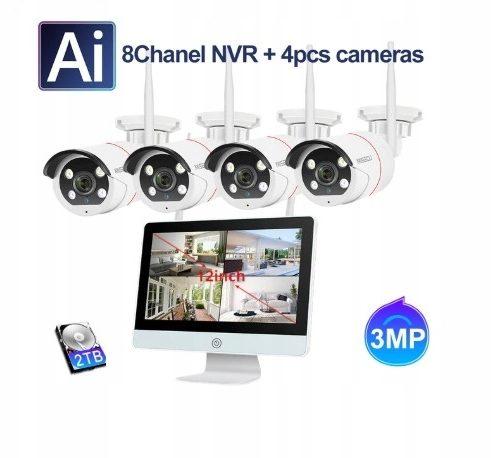 BEZPRZEWODOWY ZESTAW DO MONITORINGU LCD+NVR 3MPX