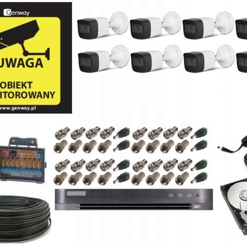 Monitoring 8 kamer tubowych zewnętrznych 8Mpx 4K