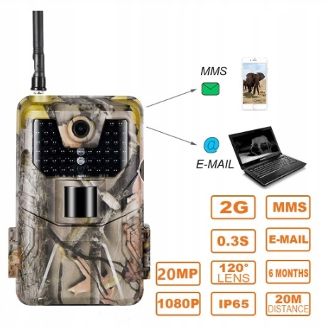 Kamera fotopułapka 20mpx MMS 2G GSM + SIM NOWOŚĆ!