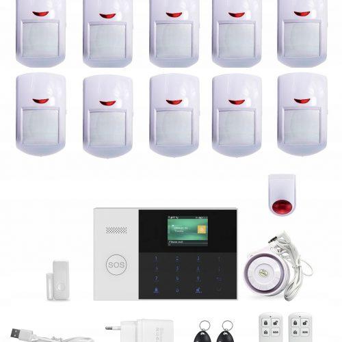 Bezprzewodowy alarm GSM + WiFi M105 10 czujek PL